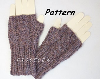 Instant Download to PDF Crochet PATTERN: Ribbed Cabled Knit-Look Fingerless Mitts