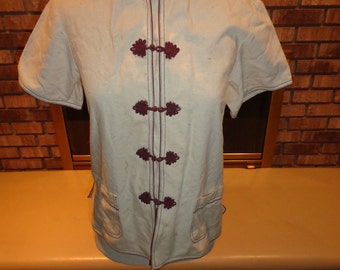 Vintage 70s Chinese Asian Oriental Blouse Small