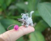 tiny crochet grey kitten cat - dollhouse decor - tiny amirugumi cat