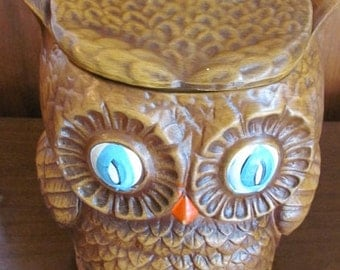 Vintage 70's Mid Century Mod Mr. Horned Owl Double Sided Ceramic Woodland Cookie Jar - Home Decor - Kitchen - Owl Ceramic
