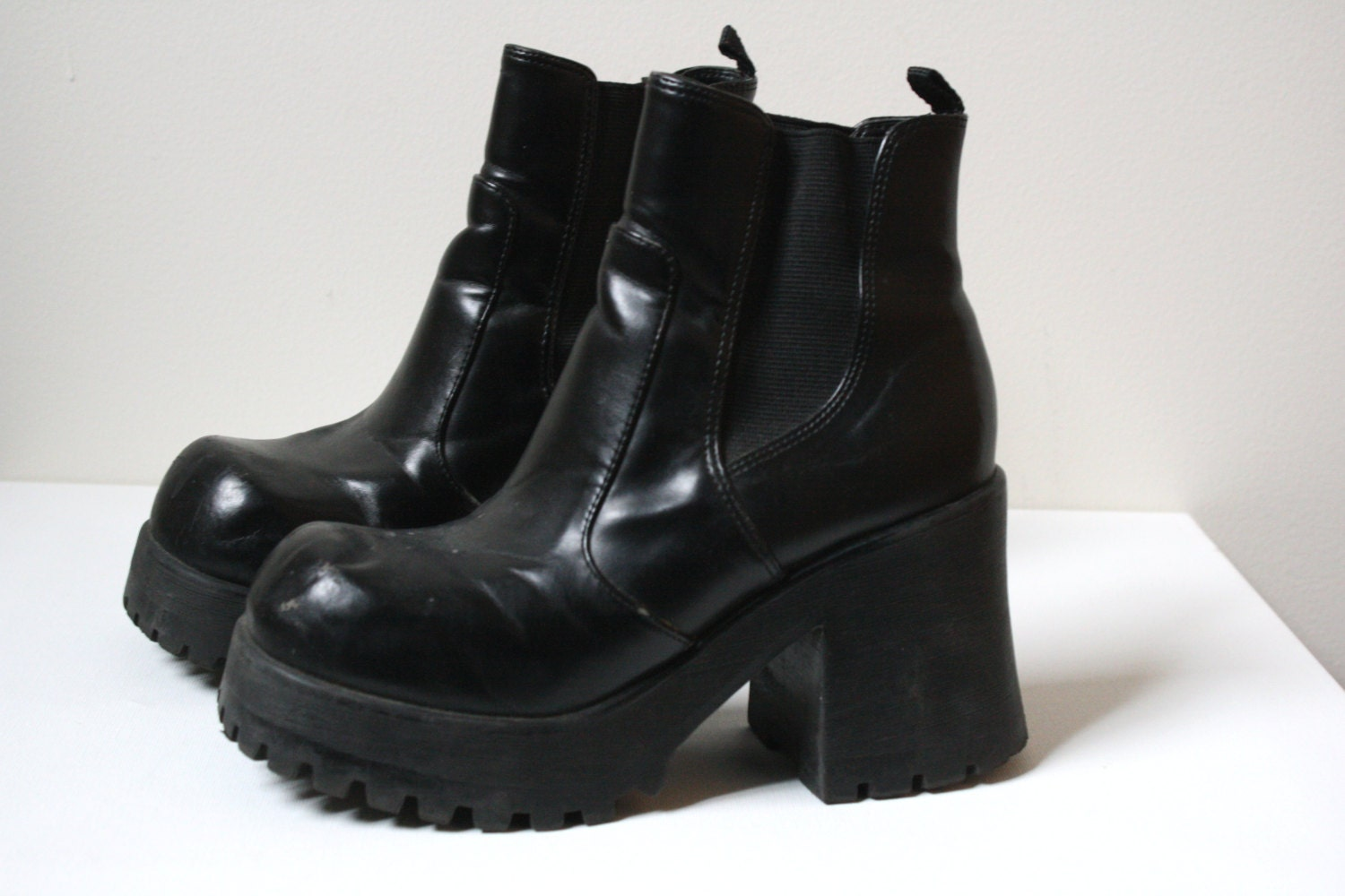 black vegan leather platform boots with elastic by