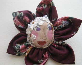 Doll Flower Brooch,  Funny Burgundy and Pink cotton Jewel.