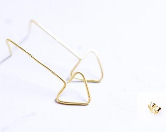 Gold plated triangle earrings  - Perfect as a gift for her - Valentine present