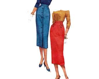 """One Yard Skirt Sewing Pattern 50s Women's Wiggle Skirt Slim Pencil Skirt Front Pleat Size 12 Waist 25"""" (64 cm) Simplicity 1690 S"""