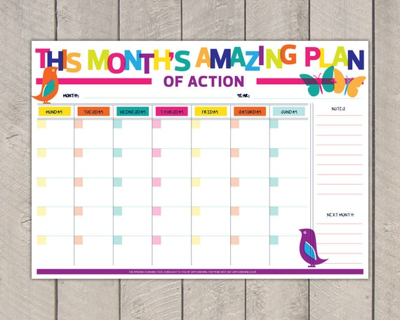 Monthly Planner Printable To Do List Diy Organiser Rainbow