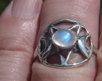 Triple GODDESS PENTACLE Ring with 7mm Rainbow Moonstone Cabochon Moon in Sterling Silver by KAM