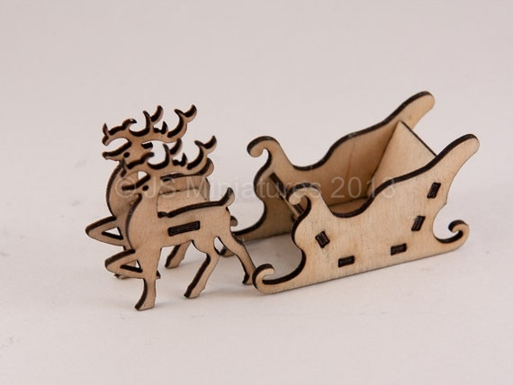 Christmas Decoration - Reindeer & Sleigh Kit - 3D Laser Cut