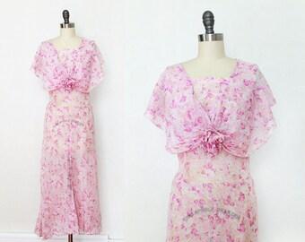 1930s Dress / 30s Sheer Cotton Floral Maxi Dress / S M