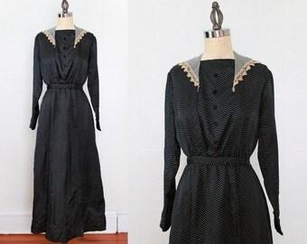 RESERVED 1910s Edwardian Dress / Polka Dot Silk / S M / NEAR MINT