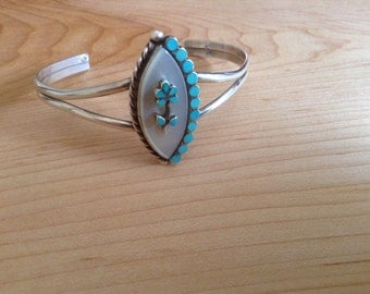 C. Lasiloo Zuni Mother of Pearl - Turquoise Flush Inlay Dista Style Sterling Silver Cuff Bracelet