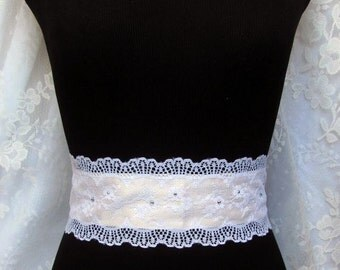 Wedding Dress Sash with Rhinestones and Lace Appliques