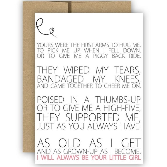 Mother's Day Card, Always Be Your Little Girl, Father's Day Card — No. GCH003