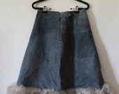Cold War Kid - 1970's Suede A-line Skirt with Shearling Trim by Gas Town Talk LTD - Size US 6