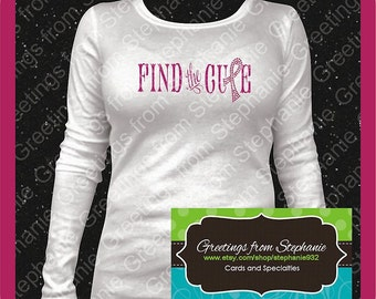 Find a Cure Glitter Vinyl and Rhinestone T-shirt (Short and Long Sleeves)