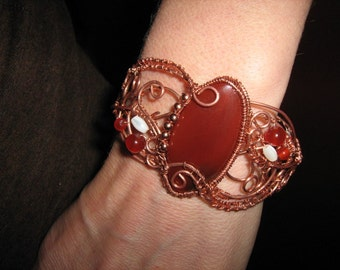 Carnelien, Mother of Pearl, and Copper Cuff