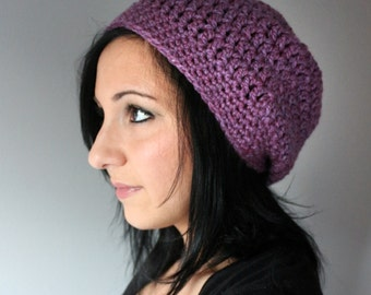 Orchid Purple Slouchy Beanie Hat, Winter Fashion Accessories