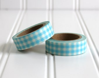 WASHI TAPE CLEARANCE - 1 Roll of Light Blue and White Gingham Plaid Checkered Washi Tape / Decorative Masking Tape (.60 inches x 33 feet)