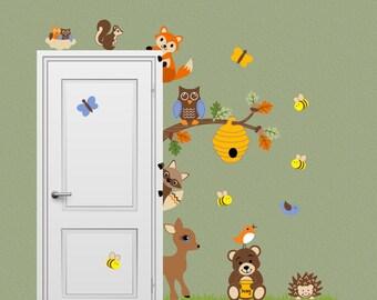 Forest Friends Animal Decal Honey Bear Fox Deer Bee Woodland Peeking Door Hugger Nursery Wall Decal