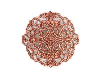 Large Round Filigree  Copper Rose Gold Plated Brass Disc Circle Stamping Huge 82mm Qty 1 One Made in the USA
