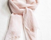 Blush Scarf, 100% Cotton Scarf, Hand Painted Scarf, Summer Scarf, Hand Dyed Scarf, Beach Scarf, All Cotton Scarf, Ships from USA, Pale Coral