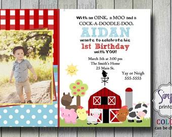 Baby Boy Printable Farm Birthday Invitation