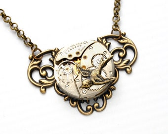 BIRD Steampunk Necklace VICTORIAN Steampunk Vintage Watch Necklace Bird Necklace Antique Brass Steam Punk Jewelry By Victorian Curiosities
