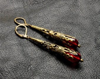 STUNNING RED Czech Glass Earrings Victorian Earrings Filigree Dangle Earrings Brass Victorian Steampunk Jewelry By Victorian Curiosities