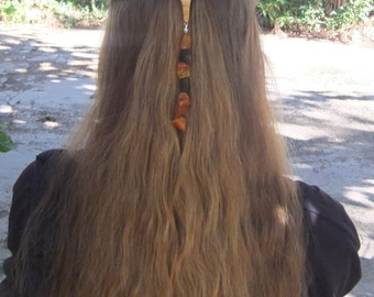 Fashion Week  Hair Barrette, hand made from olive wood,  with raw baltic Amber and inlaid sun