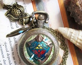 Hylian Shield Ahri and Teemo necklace pendant dome glass bronze antique pocket watch keychain key chain