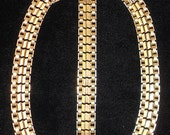 "Vintage Sarah Coventry ""Turn-A-Bout"" Necklace and Bracelet Demi Parure 1950s Reversable Signed"