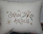 Snowman Angel Little Pillow - Bowl Filler - Tuck - Hand Stitched - WCCOFG - OFG - FAAP
