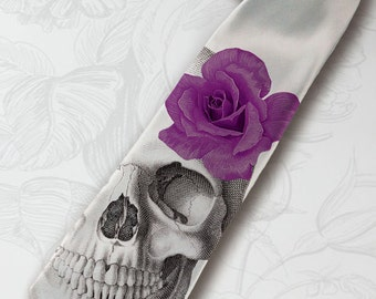 Men's gothic wedding necktie. Dia de los muertos necktie with purple rose. Horror skeleton hipster necktie. Halloween party gray necktie.