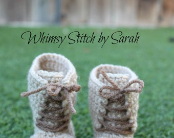 Combat Baby Boy Shoes ~ Crochet Military Style Shoes ~ Made to Order