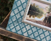 Moroccan Tile Distressed Picture Frame, Turquoise / Linen