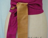 Magenta and Gold Reversible Shantung Obi Sash
