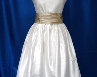 Ivory V Neck Shantung Fit And Flare Wedding Dress With Lace