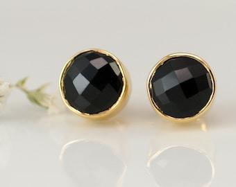 Black Onyx Stud Earrings - Gemstone Studs - Round Studs - Gold Stud Earrings - Post Earrings