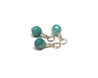 Amazonite Gemstone Charm Bali Sterling Charm Blue Green Turquoise Chakra Jewelry Party Thank you Gifts for Her Bridesmaids Gifts on a Budget