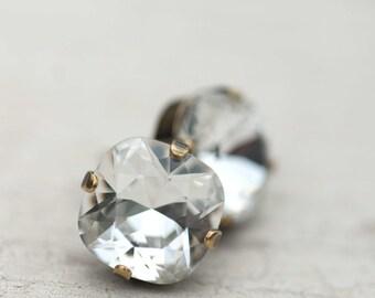 Stud Earrings, Post Earrings, Clear Crystal, Bridal Earrings, Bridesmaid Earrings, Vintage Style Jewelry, Wedding Jewelry