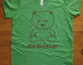 Big Brother Bear Shirt - 8 Colors Available - Kids Big Brother Bear T shirt Sizes 2T, 4T, 6, 8, 10, 12 - Gift Friendly