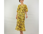 Vintage 1930's silk dress / Yellow floral bias cut ethereal gown with flutter sleeves and peplum waist - CarlaAndCarla