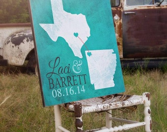 Personalized Wedding Gift, Personalized Family Name Sign, Your Destination Wedding or States, Texas