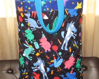 Party Animal Quilted Tote for Mom and Kids On The Go