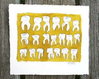 Dancing Molars.  An original dental tooth pattern watercolor painting.