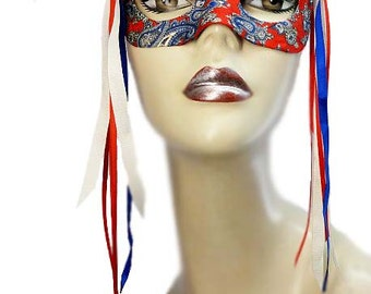 Hand Crafted Domino Eye Mask Paisley Flair Victorian Steampunk Masquerade Red Blue Ivory