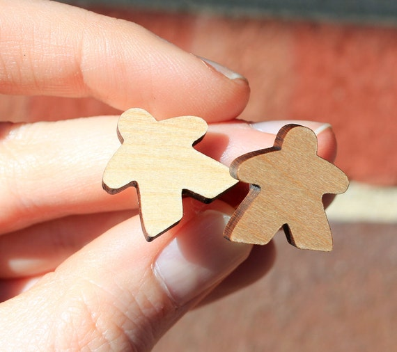 One Pair of Laser Cut Meeple Cuff links Natural Red or Green