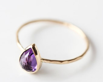 Amethyst and 14k gold thin stacking ring, February birthstone, teardrop, rose cut, pear cut, solid 14k gold, eco friendly, purple gemstone
