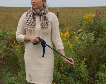 Vintage Knit Dress, Cream Wool Knit Dress, Size Small