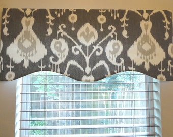Window Valance Grey Pewter Cream Ikat Lined Home Decor MADE TO ORDER