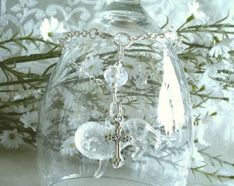 Clear Lion with Cross Anglican Rosary Bracelet - April Birthstone